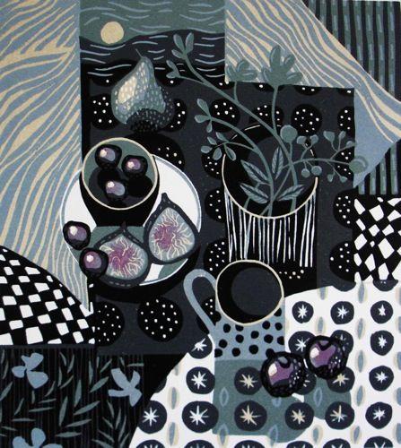 Blue Moon Linocut by Jane Walker
