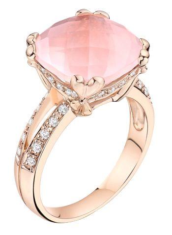 Rose quartz and diamonds set in rose gold
