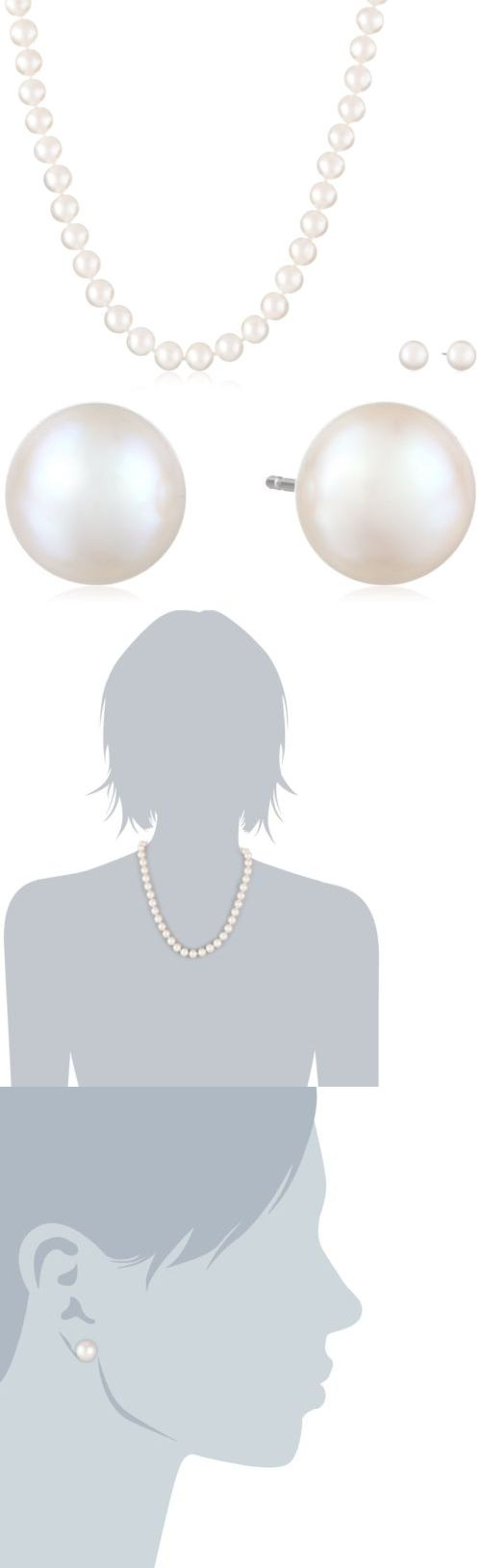 Pearl 164327: White Freshwater Cultured Pearl Necklace And Stud Earrings Set With Sterling ... -> BUY IT NOW ONLY: $74.48 on eBay!