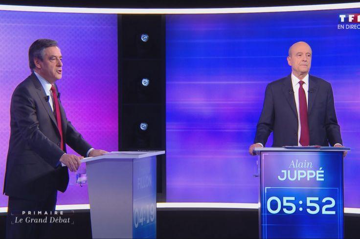 Alain Juppé et François Fillon lors du débat le 24 novembre 2016