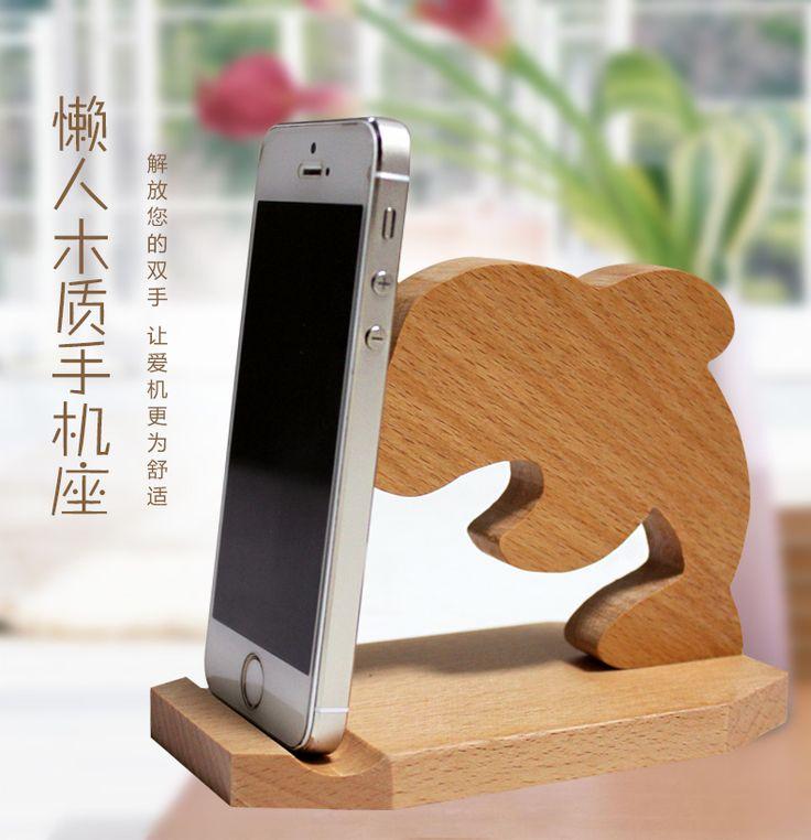 1 unid 360 degree rotación teléfono móvil soporte de madera con soporte del control remoto(China (Mainland))