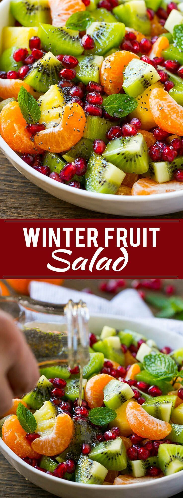 This winter fruit salad is tossed in a light honey poppyseed dressing for a quick and colorful side dish that goes perfectly with a bowl of soup.