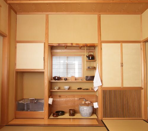 mizuya is water place of tea house  this is omote -senke style mizuya