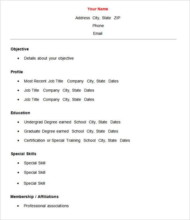 Resume Templates Easy 6 Templates Example Templates Example Basic Resume Resume Template Free Sample Resume Templates