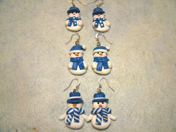 Polymer Clay Snowman Earrings Blue and by gagirljewelryandgift
