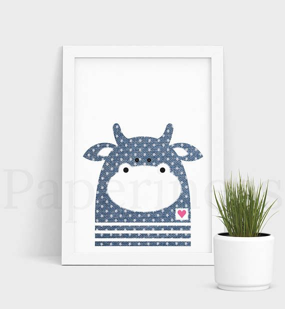 Gorgeous printable wall art for the nursery. This listing is for the COW WITH DENIM AND FLOWER DETAIL (see first photo). For plain denim animals, please visit my shop. ***BUNDLE*** Buy 6 animals with denim and flower detail for $35. Use coupon code BUY6FOR35 at checkout. I offer free optional personalisation, just place a name in the comments section. You will receive 3 High Resolution JPG Files - A3, A4 and A5. If you would like another size, let me know in the NOTES section. There will...