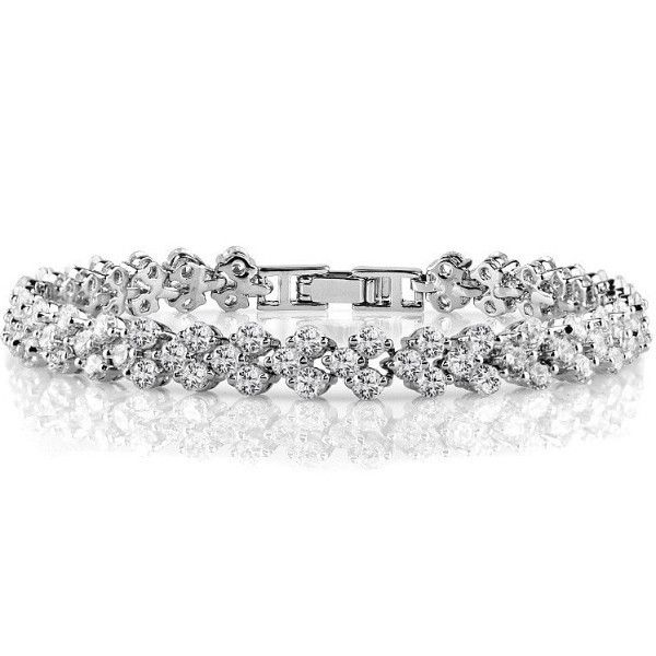 Bracelet Silver twist link clear CZ Bracelet . 16.5 + 3.5 cm in length and a lobster catch perfect gift for yourself or a loved one with free shipping