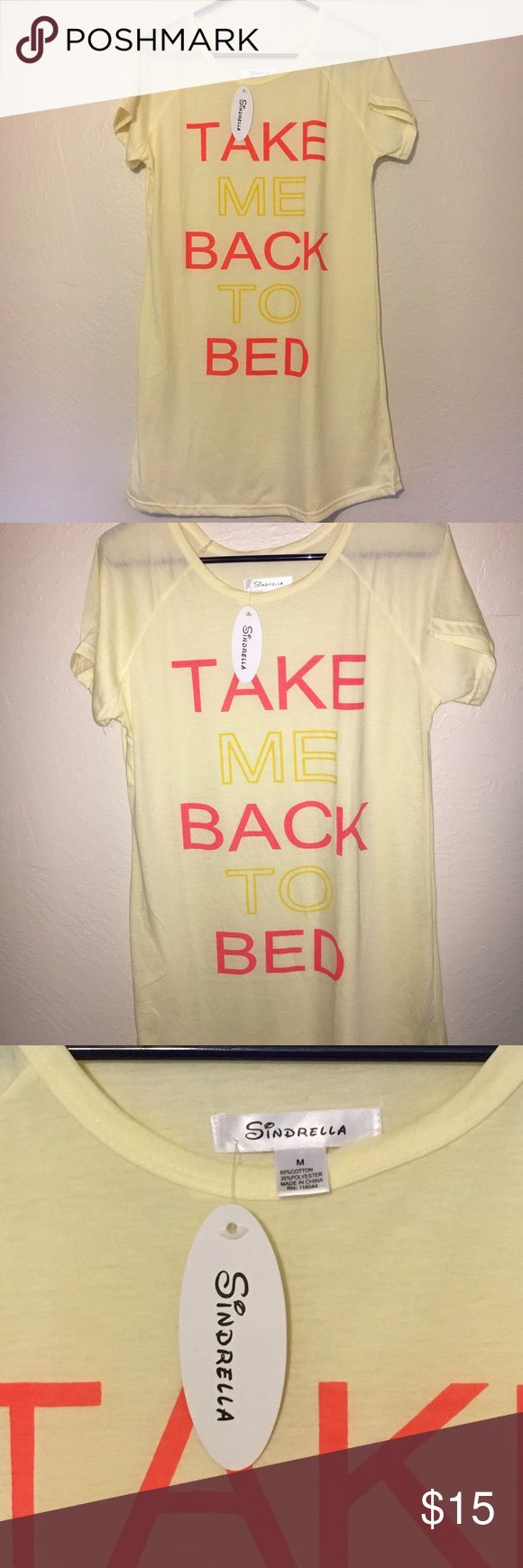 Listing Sindrella Take Me Back To Bed Nightgown This Take Me Back To Bed Nightgown is new with tags and is size Medium. Very thin and lightweight. Super cute nightie! Would make a cute Valentine's Day gift!  Sindrella Intimates & Sleepwear Pajamas