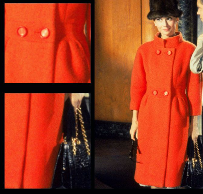 I bought a coat from J. Crew last year & it looks just like this one. I love it.:) Was in stores again in Winter 2011. J. Crew's name for the deep orange color is flame.  (In picture: Audrey Hepburn: Breakfast at Tiffany's | Givenchy orange coat)