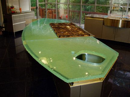 Countertop Glass Stove Top : Fusion Glass kitchen island countertop with LED lighting strip ...