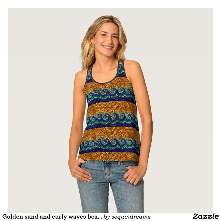 Golden sand and curly waves beaded print design singlet