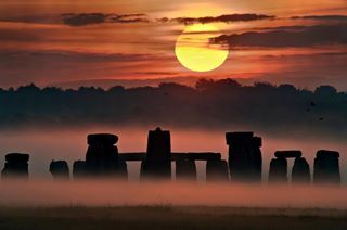 Sunset taken during the week of the 2008 summer solstice at Stonehenge in United Kingdom.