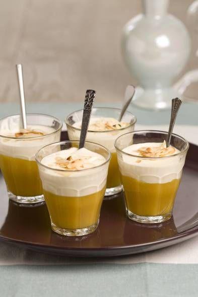 Mangomoussen met mascarpone: 1 blaadje gelatine toegevoegd en bij de mascarpone 1 eetlepel honing en vanille