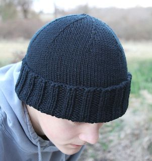 Ribbing of hat knitted with yarn held double to provide extra warmth over ears, then the remainder is knit tightly with a single strand.