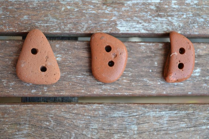 Irish Sea tumbled terracotta buttons by MajackalCreations on Etsy