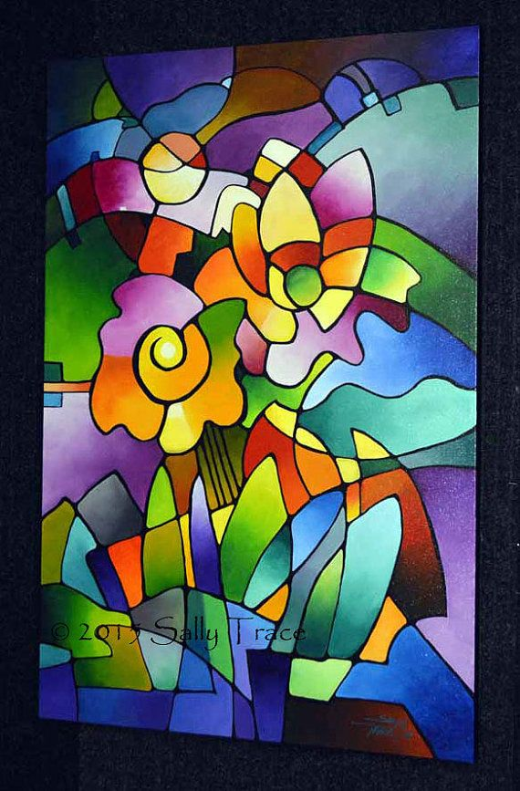 Impresión de giclee de mi pintura original, pintura geométrica floral abstracta en lona, coloridos jardines, florece la lona: Floraciones de molinete.  24 x 36 pulgadas. Impreso con tintas de pigmento archivo rico, vivo en un lienzo de algodón grueso. La imagen es espejo envuelto alrededor 1.5 barras del ensanchador de madera profunda secada y engrapadas en la parte posterior. El lienzo está barnizado con barniz brillante para realzar los colores y proteger la superficie impresa. Listo para…