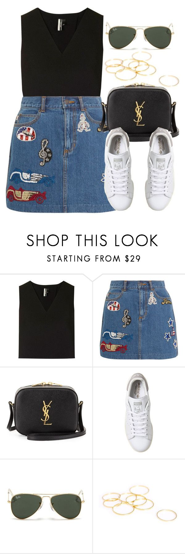 """Style #10246"" by vany-alvarado ❤ liked on Polyvore featuring Topshop, Marc Jacobs, Yves Saint Laurent, adidas and Ray-Ban"