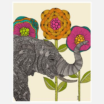 Aaron Print by Valentina Ramos: Wall Art, Art Boards, Wallart, Elephant Art, Valentina Ramos, Girls Room, Art Prints, Shower Curtains, Line Art