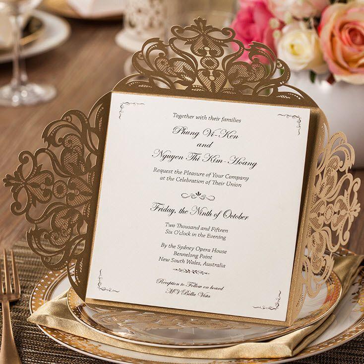 50 Peças, Dourado elegante Teste Padrão de Flores de Corte A Laser Convites De Casamento Cartões, por Wishmade, CW519_GO em   de   no AliExpress.com   Alibaba Group
