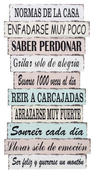 Este año, ¡nuevas normas en casa! Feliz 2017 Cuadro Madera con temática vintage y frases con normas de la casa para decorar tus estancias.