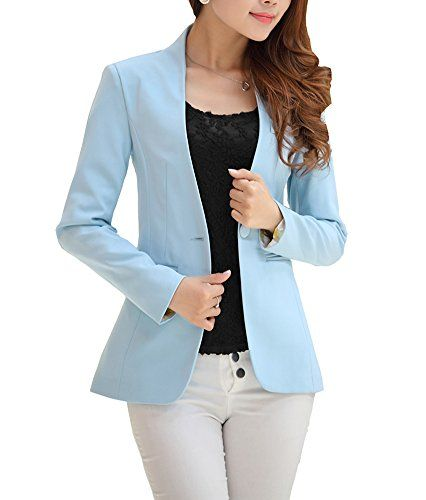 543957a1ff9 HM Women Fashion Casual Long Sleeve Work Blazer One Button Jacket 010 Blue  S0     Click image to review more details.-It is an affiliate link to Amazon .