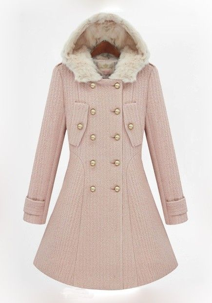 Pink Plain Buttons Collar With Hat Wool Coat