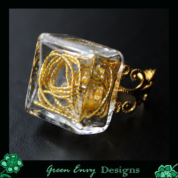 Hollow glass dome ring: Galadriel's shining, silver-gold hair. by GreenEnvyDesigns on Etsy