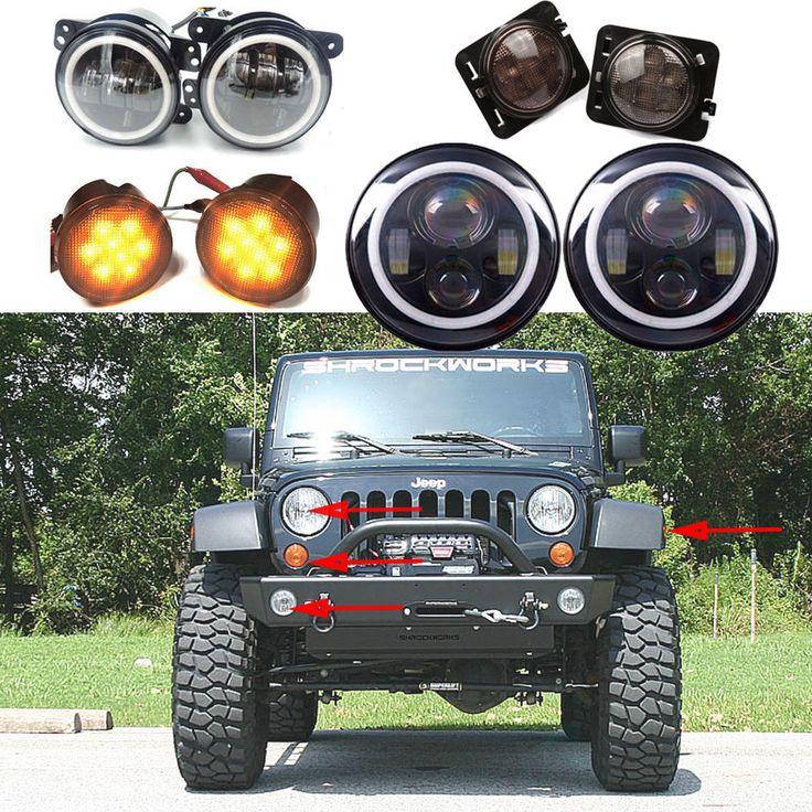 2P 7inch CREE LED Headlight Indicator Turn Light Fog Light for JK Jeep Wrangler #TURBO