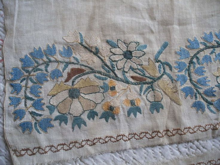 2 antique Turkish embroidery pieces, towel ends, Ottoman embroidered