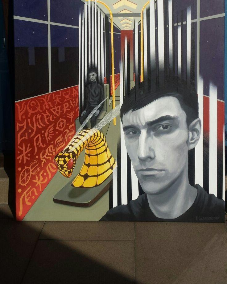"""Franciszek Grzesiak, """"608"""" 100x70 cm, acrylic on canvas"""