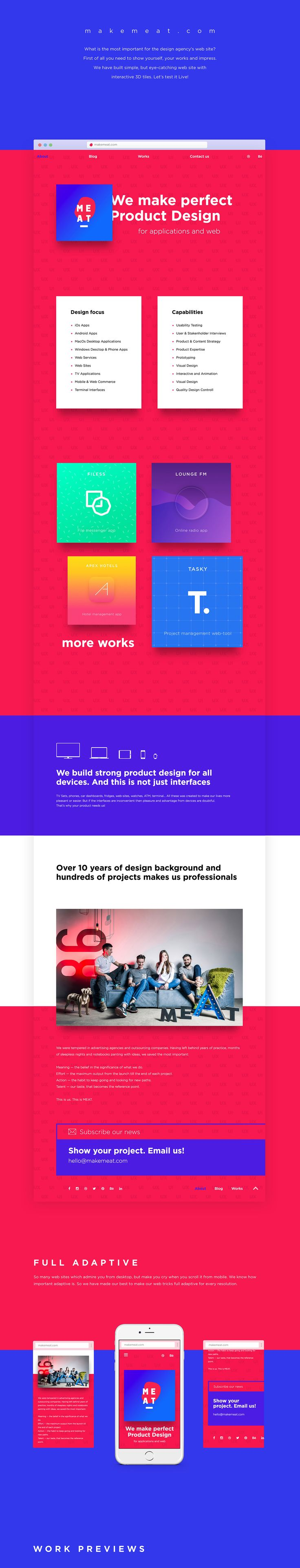 What is the most important for the design agency's website?First of all, you need to show yourself, your works and impress.We have built simple, but an eye-catching website with interactive 3D tiles. Let's test it Live!