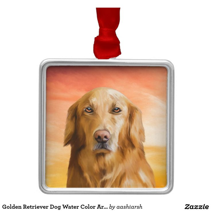 Golden Retriever Dog Water Color Art Oil Painting Metal Ornament