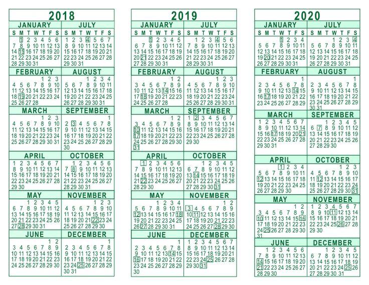2018 2019 2020 Calendar Printable | Year Calendar - 2018 ...