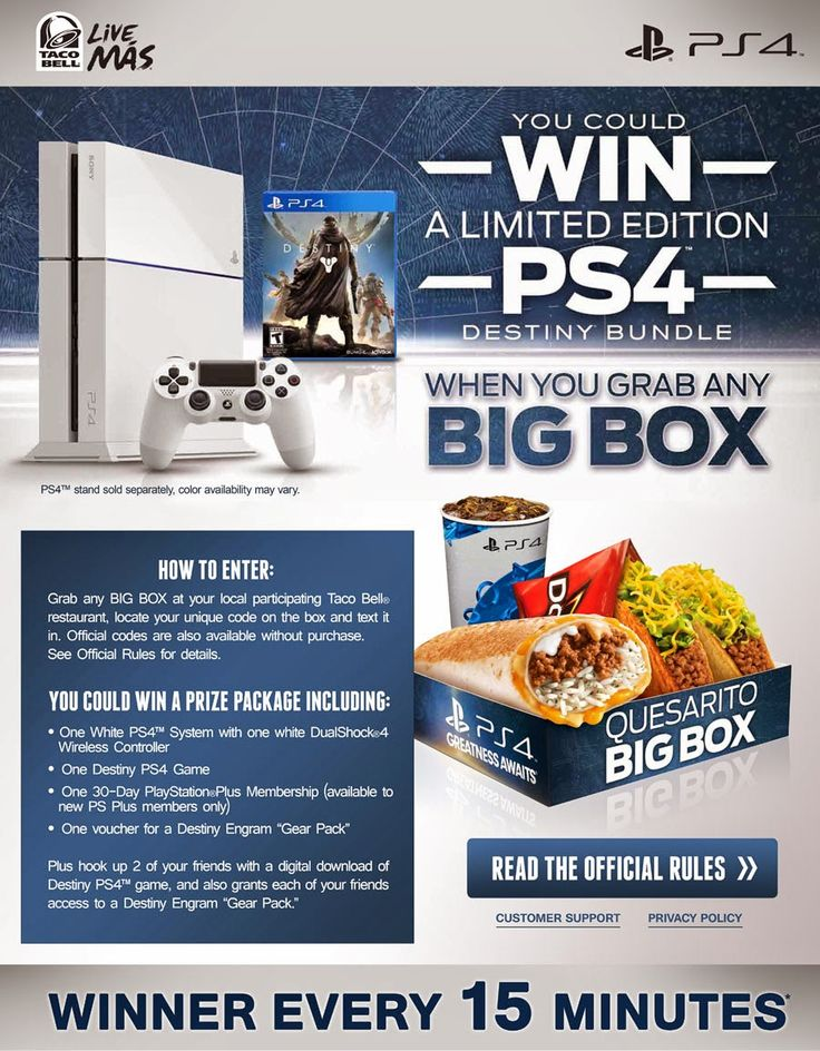 Win-A-Limited-Edition-PS4-Destiny-Bundle-From-Taco-Bell  PlayStation and Taco Bell have partnered together to give lucky fans a chance to win a Limited Edition PlayStation 4 Destiny Bundle every fifteen minutes.    #PS4 #TacoBell #WinDestinyBundle