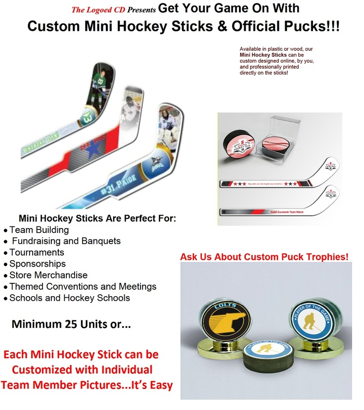 """Hockey Sticks-""""The perfect gift!"""" Available in wood or plastic, our mini hockey sticks can be custom designed online, by you, and professionally printed directly on the sticks ! Use these attractive sticks as souvenir, or play your games: Knee Hockey, Shinny Hockey, Sock Hockey, Rug Hockey and Carpet Hockey with them.  www.corppromo.com"""