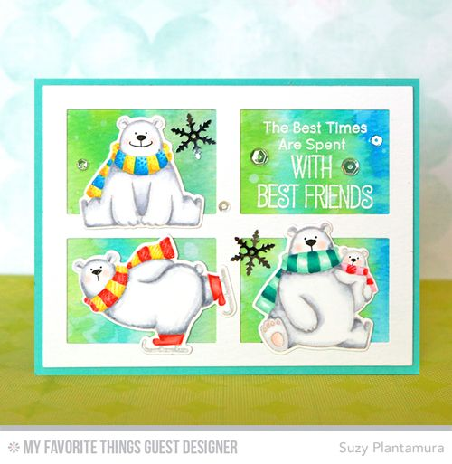 Handmade card from Suzy Plantamura featuring Birdie Brown Polar Bear Pals stamp set and Die-namics and Gift Box Cover-Up Die-namics #mftstamps