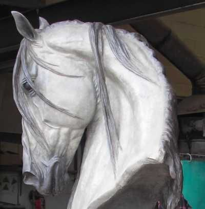 Bronze Horse / Equines sculpture by artist Gill Parker titled: 'Grey Head (Bronze life size Horse Head statue)' £47,000