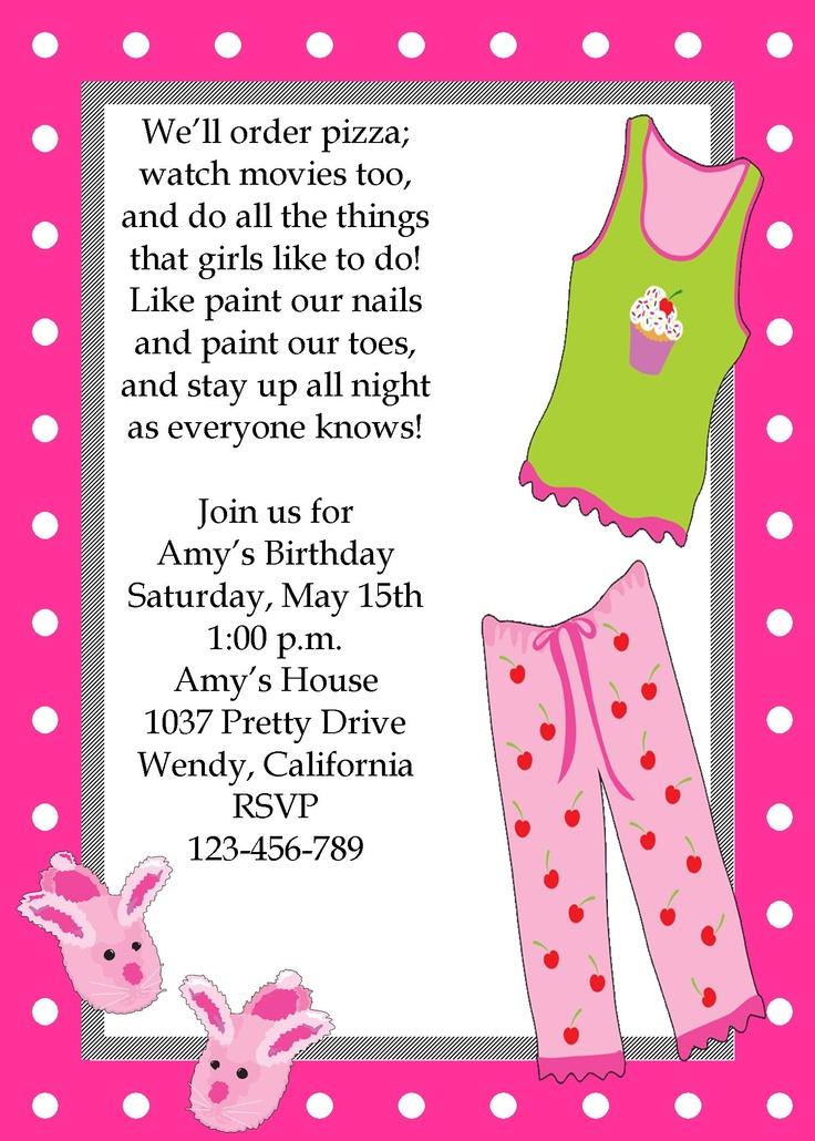 Girls sleepover pajama party invitation