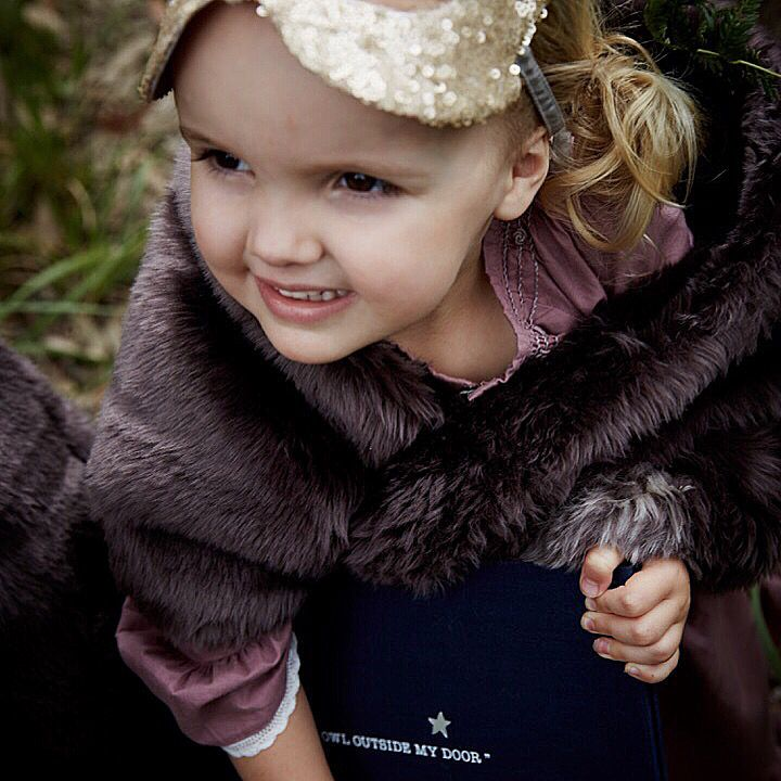 """""""Into The Woods """".. Photographer Sam Elsom .. Beautiful little angel holding on tightly to """"The Owl Outside My Door """" dressed in faux fur , gold sequin mask  and beautiful Linen nightie from Bonne Mere Australia"""