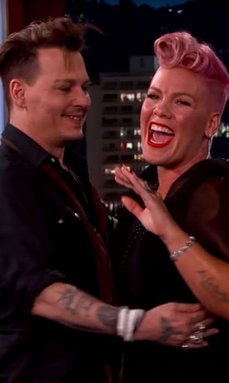 Watch Johnny Depp surprise fangirl Pink on Kimmel.