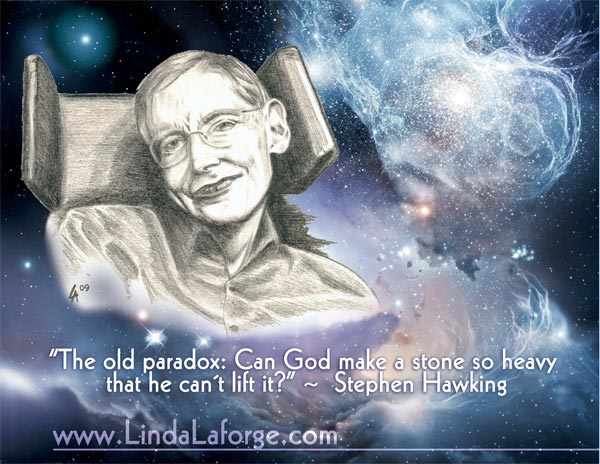 Drawing of Stephen Hawking with universe pic photoshopped as background.