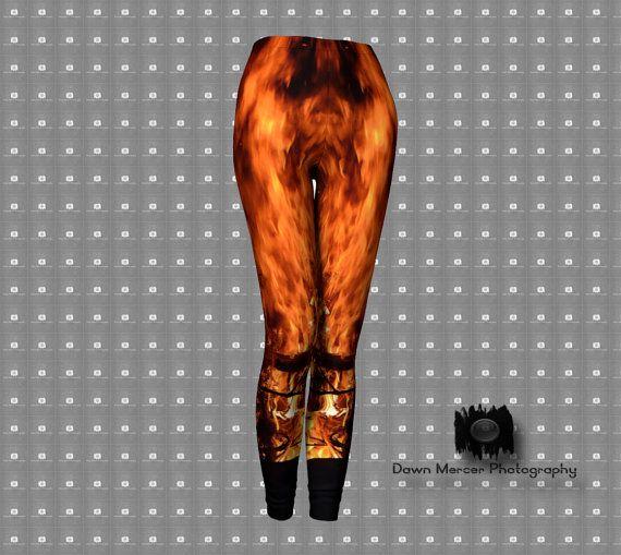 Flames Print Leggings for Women Premium Printed by DawnMercerPhoto