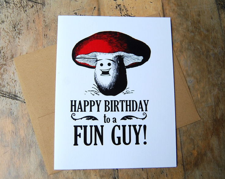 Happy Birthday to a FUN GUY, Funny birthday greeting card. $3.00, via Etsy.
