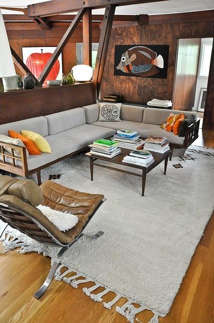 mid century modern open living room