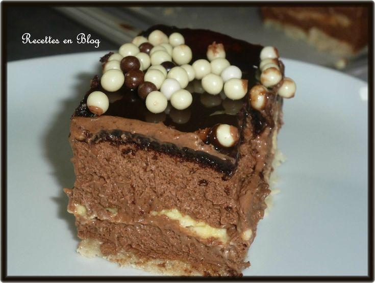 dacquoise amande, mousse chocolat framboise, crème brulée et biscuit chocolat