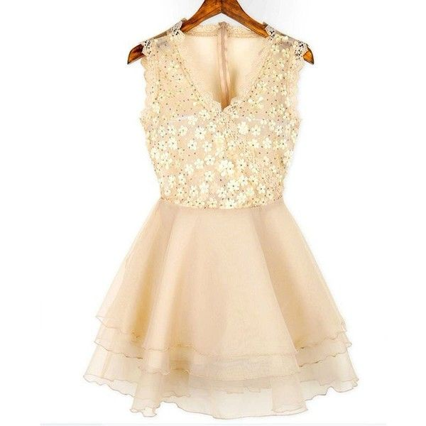 Little Hand Korean Womens Casual Chiffon Mini Short Summer Prom Party... (£53) ❤ liked on Polyvore featuring dresses, vestidos, beige cocktail dress, summer party dresses, chiffon prom dresses, beige prom dresses and going out dresses