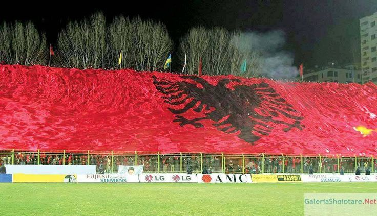 Albanian flag at a soccer game