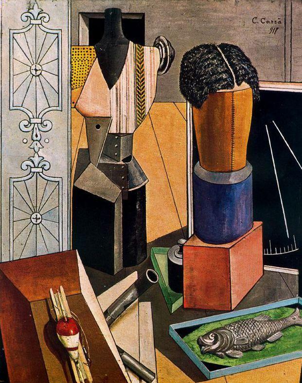 """Carlo Carrá """"La habitación encantada"""" 1917. creó una atmósfera de misterio y aprehensión mediante el uso de una perspectiva renacentista exagerada y de una luz amenazadora."""