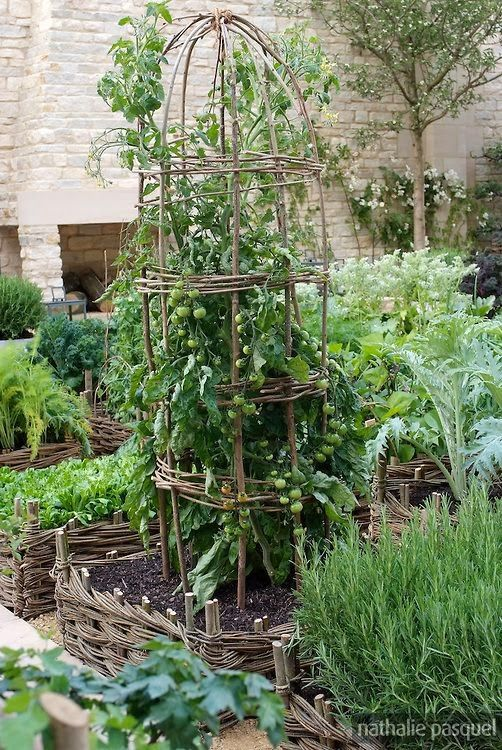 the garden: vegetable gardens---this lady is an astounding artist who also does landscaping; her designs are spectacular. Note her frequent use of containers !!