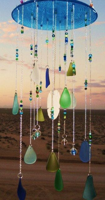 Glass Plate Beach Glass Windchime With Wire Wrapped Glass